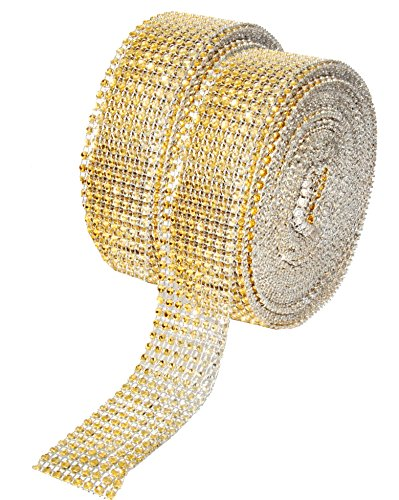Diamond Bling Wrap, Faux Rhinestone Crystal Mesh Ribbon Roll for Wedding, Party, Centerpiece, Cake, Vase Sparkling Decoration (1.5 Inches 8 Rows 20 Yards, Gold) ()