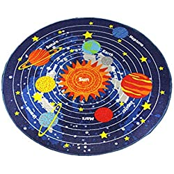 "HUAHOO Kids Round Rug Solar System Learning Area Rug Children's Fun Area Rug - Non Slip Bottom (NASA Stars, 39"" Diameter Round)"