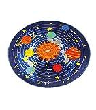 Kids Round Rug Solar System Learning Area Rug Children's Fun Area Rug - Non Slip Bottom (NASA Stars, 31'' Diameter Round)