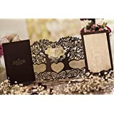 Wishmade 3D Magic Tree Design Laser Cut Wedding Invitations Invites Card Stock For Engagement Party Bridal Shower CW5023 (1 pc)