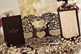 Wishmade 3D Magic Tree Design Laser Cut Wedding Invitations Invites Card Stock For Engagement Party Bridal Shower CW5023 (50)