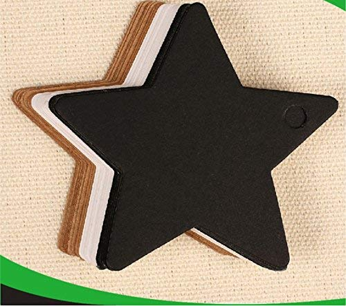 andy cool 50pcs Wedding DIY Five-pointed Star Gift Black Kraft Paper Label Price Hang Tags Cards Durable and Practical ()