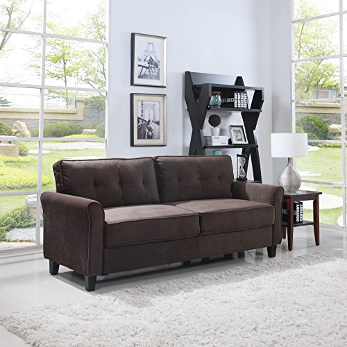 Classic Ultra Comfortable Brush Microfiber Fabric Living Room Sofa (Brown) ()
