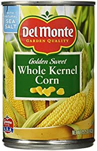 Del Monte Whole Kernel Gold Corn, 15.25-Ounce (Pack of 4) - With Natural Sea Salt and Pop Tab For Opening