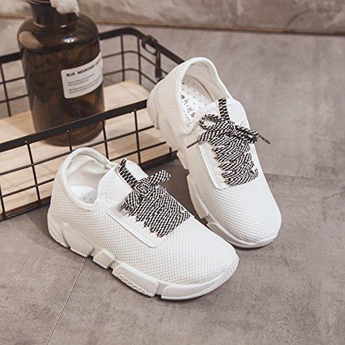 Negro Primavera Deporte Casuales Zapatos tamaño Deportivos de Las Blanco Color Blanco Al de Zapatos Zapatos tamaño de Otoño Malla Mujeres Zapatillas Blanco Aire Caminar Casual Libre 35 Sp0q51YaZw