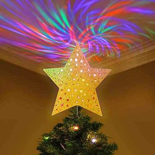 Christmas Lights Tree Toppers - YUNLIGHTS Christmas Tree Topper Lighted Star Tree Topper with Wave Projector Lights, Christmas Decorations, Gold