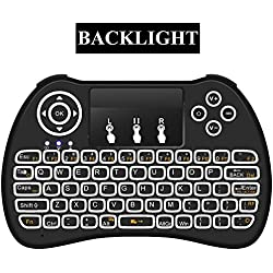 Mitid Backlight Mini Keyboard Remote Controls for Google / Android TV Box, Smart TV, HTPC, IPTV (Blacklit Keyboard)
