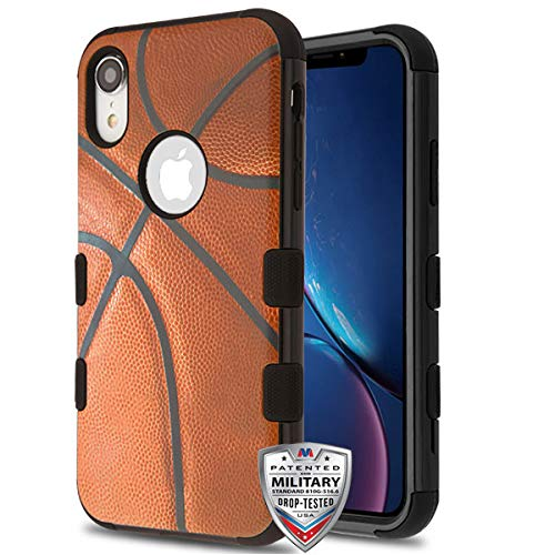 (Case+Tempered_Glass+Stylus, TUFF Hybrid Protector Cover [Military-Grade Certified] Fits Apple iPhone XR / 9 MYBAT Basketball-Sports Collection Brown/Black)