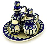 Polish Pottery 9-inch Seasoning Set (Peacock Leaves Theme) + Certificate of Authenticity