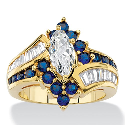 Palm Beach Jewelry 14K Yellow Gold Plated Marquise Cut and Baguette Cut Cubic Zirconia and Round Blue Simulated Sapphire Bypass Ring
