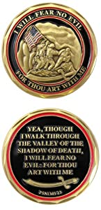 United States Military US Armed Forces Marines Psalms 23 - Good Luck Double Sided Collectible Challenge Pewter Coin