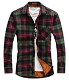 chouyatou Men's Casual Long Sleeve Fleece Lined Plaid Flannel Buttoned Overshirts Jacket (Medium, M01)
