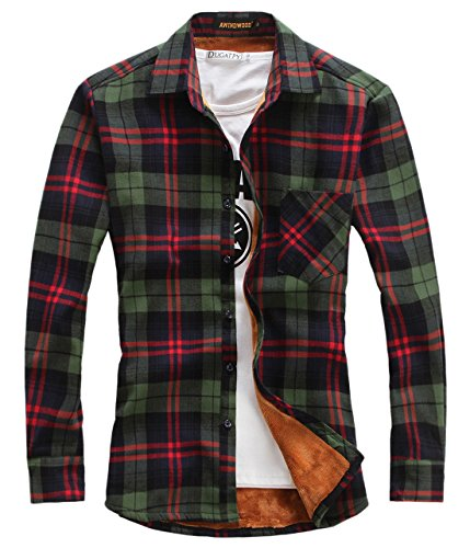 chouyatou Men's Casual Long Sleeve Fleece Lined Plaid Flannel Buttoned Overshirts Jacket (XX-Large, M01)
