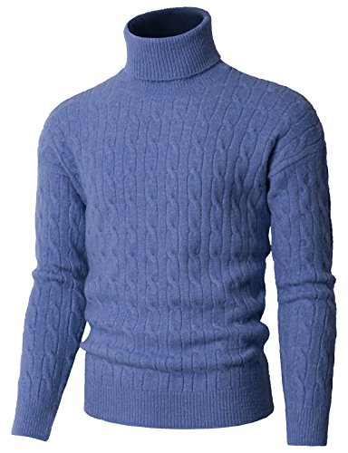 - H2H Men's Casual Slim Fit Turtleneck Pullover Sweaters with Twist Patterned Blue US L/Asia L (KMOSWL0235)