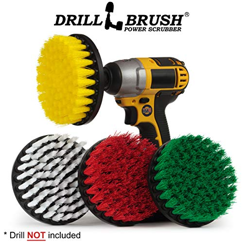 Drill Brush - Cleaning Supplies - Power Scrubber Brush Variety Sampler Kit - Grout Cleaner - Spin Brush - Tile Cleaner - Boat Brush - Bathtub Cleaner - Window Cleaner - Mineral Deposits, Soap Scum (Scouring Brick)