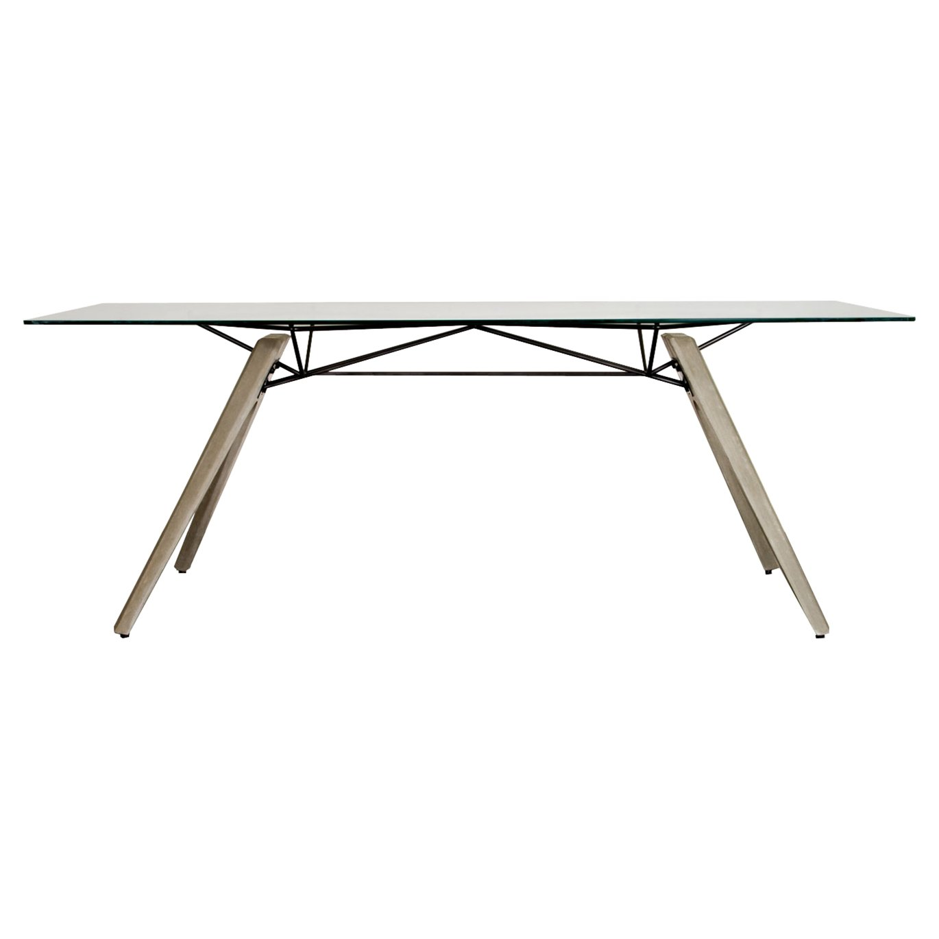Christian Industrial Loft Glass Concrete Dining Table - 94W by Kathy Kuo Home