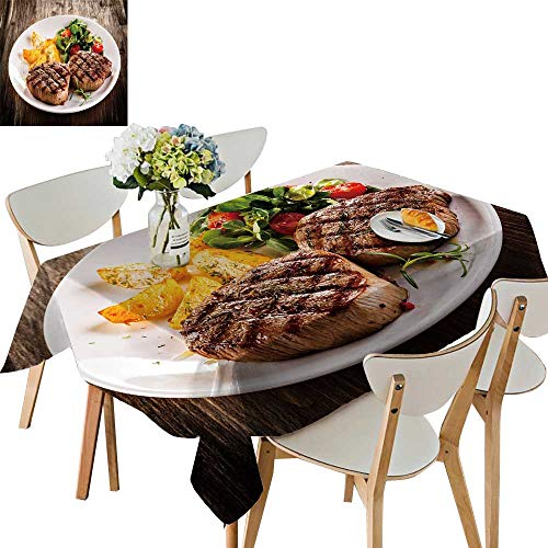UHOO2018 Decorative Tablecloth Square/Rectangle Grille beefsteaks Vegetables Assorted Size,54 x110inch ()