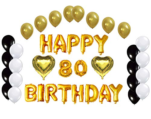 Golden Happy 80th Birthday Decorations Letters Balloon Bundle By Partyplace 2 Heart Shape Balloons16 Inch Gold Letter Mylar Foil