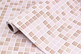 "pink bathroom tile Mosaic Contact Paper Self-Adhesive Removable Thick Peel and Stick Wallpaper 3D Effect Glossy Waterproof Easy to Clean Kitchen Shelf Liner Countertop Mosaic Tile sticker Light Brown 16"" x 78.7"""