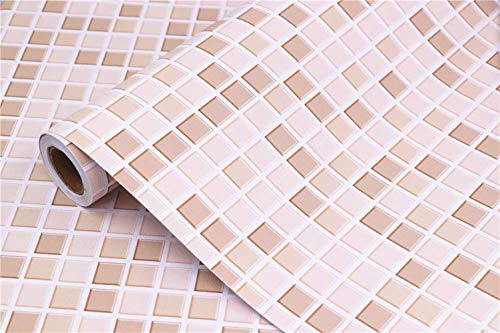 "Mosaic Contact Paper Self-Adhesive Removable Thick Peel and Stick Wallpaper 3D Effect Glossy Waterproof Easy to Clean Kitchen Shelf Liner Countertop Mosaic Tile sticker Light Brown 16"" x 78.7"""