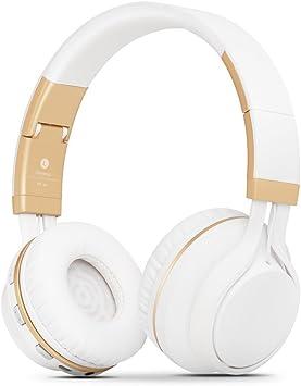 Kanen BT02 - Auriculares inalámbricos con Bluetooth y micrófono Blanco/Dorado: Amazon.es: Electrónica