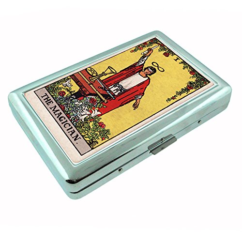 (Tarot Card The Magician S2 Silver Cigarette Case Metal Wallet Id Holder 4