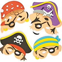 Pirate Foam Mask Craft Kits 4 Assorted Designs with Self Adhesive Pieces for Kids to Make & Wear (Pack of 4)