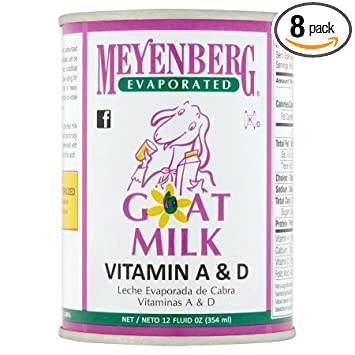 Meyenberg Evaporated Goat Milk, Vitamin D, 12 Ounce (Pack of 8)