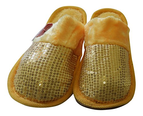 Fur Yellow Home On DINY Plush amp; Ladies Comfort Super Style Sequin Slip Lightweight Slippers pnFnOxq