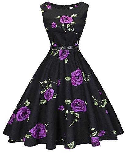 I2CRAZY Boat Neck 1960s Pinup Vintage Dresses Sleeveless(Size-XL,F11) -
