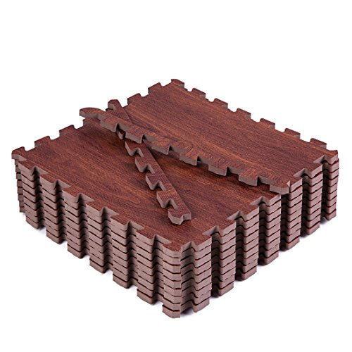 Superjare 9 Pieces Eva Foam Mat Interlocking Tiles Protective Flooring with Boarders Dark Wood Grain