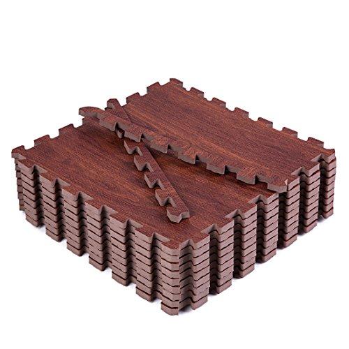 Superjare 9 Pieces Eva Foam Mat Interlocking Tiles Protective Flooring with Boarders Dark Wood Grain
