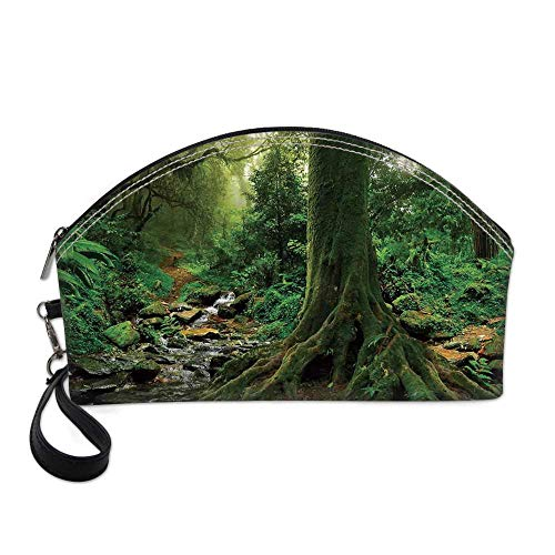 Apartment Decor Small Portable Cosmetic Bag,Rain Forest Scene with River in North Forest in Early Morning Humid Fog Print For Women,One size