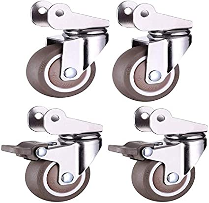 Cylficl 4PCS Rollers for Cribs Silent Rubber Bed Swivel Castor Furniture Rail Wheels Universal Rotating Brake 1.5 Inch 40mm 2 Inch Brake 50mm Color : Universal2 Brake2, Size : 1.5 inches