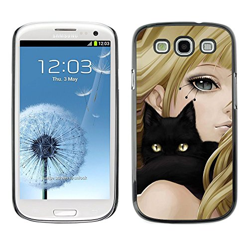 Coque en plastique Housse de protection || Samsung Galaxy S3 || Yeux jaunes Anime Girl Cat Blond Noir Dessin @XPTECH