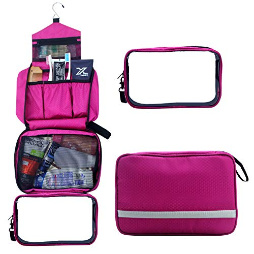 Hanging Travel Toiletry Bag Folding Portable Cosmetics Travel Bag Waterproof Bathroom Organizer With Detachable TSA Approved Clear PVC Pouch (Hot red)