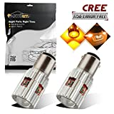 Partsam 2x High Power 25W Amber 7506 1156 1156A CREE LED Bulb Error Free Front Turn Signal Light Lamp Projector Lens