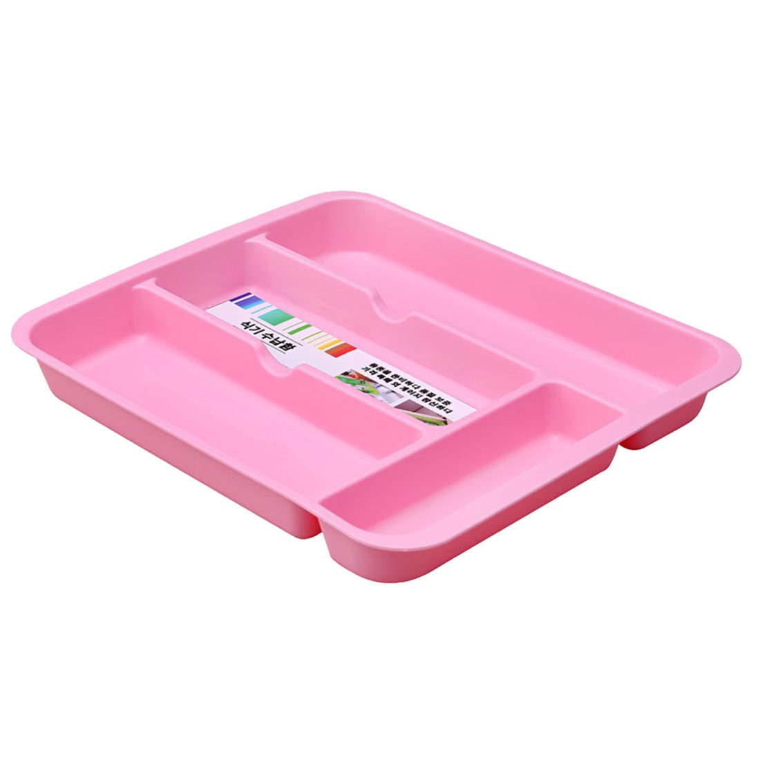 Qianle Plastic Silverware Cutlery Tray 4 Compartment Drawer Organizers Pink