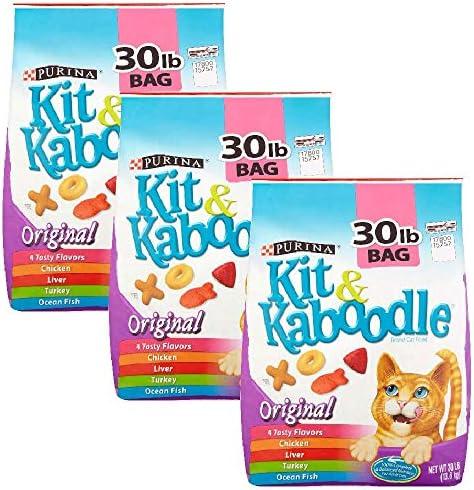 Purina Kit Kaboodle, Dry Cat Food, Original, 30 Lb Bag Pack of 3