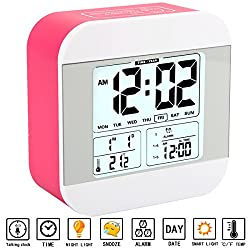 Alarm Clock for Kids, Aitey Talking Alarm Clock with Large Digital Display, 3 Alarms, 7 Rings, Snooze, Optional Weekday Mode and Low Light Sensor Technology for Bedrooms and Office Desk (Red)