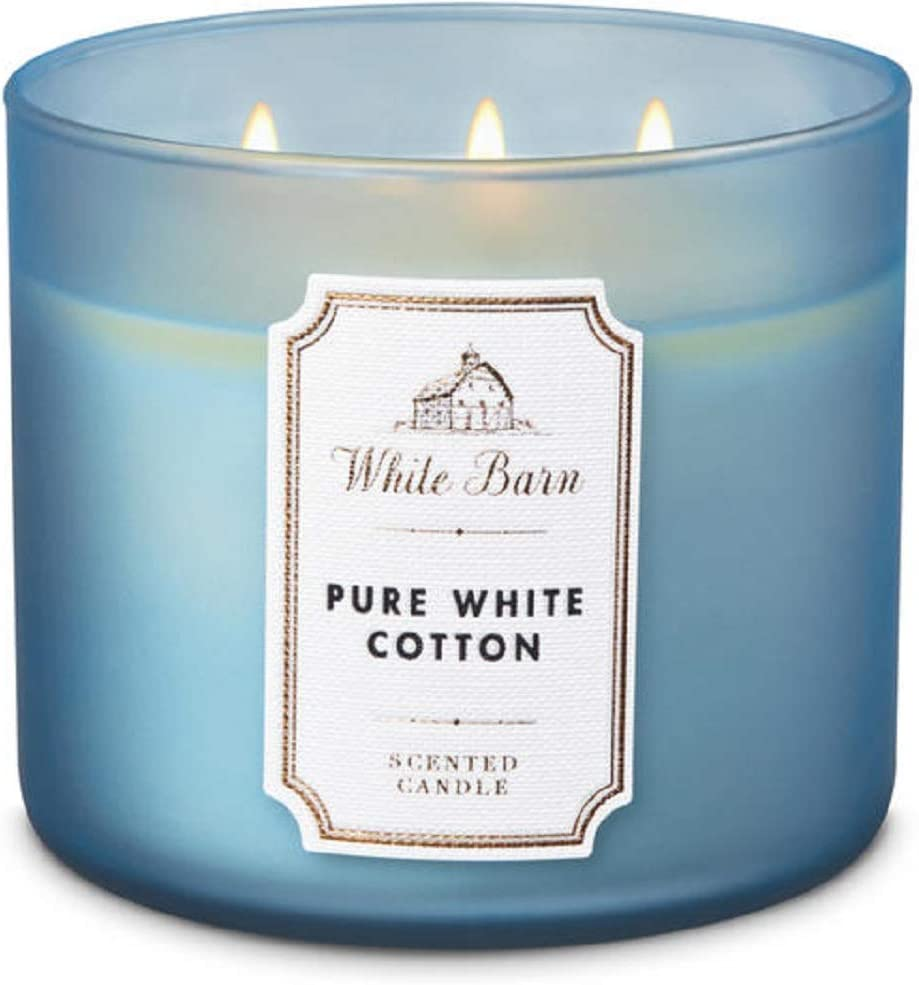 White Barn Bath and Body Works Pure White Cotton Candle 3 Wick
