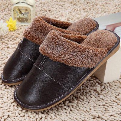LaxBa Femmes Hommes chauds dhiver Chaussons peluche antiglisse intérieur Cotton-Padded36 marron foncé Chaussures Slipper