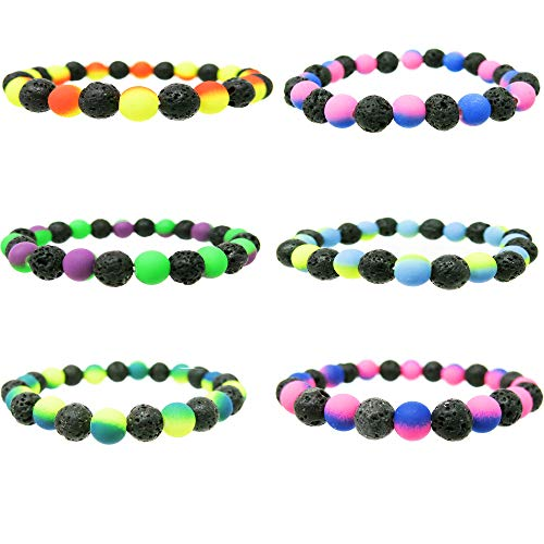 Lava Rock Bracelets for Women Men Teens 6 Pieces Pack-Essential Oil Aromatotherapy Diffuser Yoga Bracelet Set w/ Lava Stone & Tie-Dye Beads-Stretch Stackable Bangles-Great Gifts (Black Lava ()