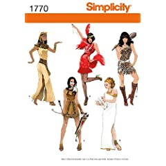 Simplicity Sewing Pattern 1770 K5 - Use to Make - Misses' Costumes - Eqyptian Flapper Cave Woman Indian Goddess - Sizes 8 to 16