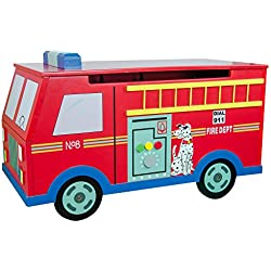 Teamson Kids - Trains & Trucks Fire Engine Kids Wooden Toy Chest with Safety Hinges
