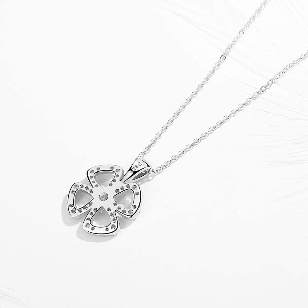 TONGZHE Four Leaf Clover Pendant Necklace Sterling Silver 925 Cubic Zirconia Cable Chain Adjustable 16-17-18 Inch