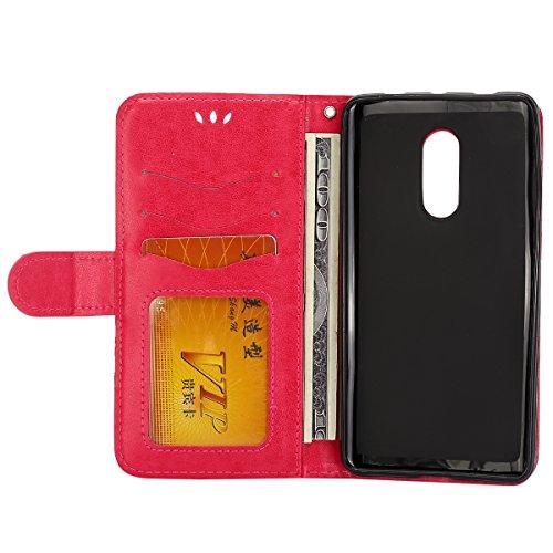 Funda Xiaomi Redmi Note 4,SainCat Funda de cuero sintético tipo billetera con Función de Soporte,Funda Billetera para Tarjetas y Billetes,Ranuras para Tarjetas y Billetera Funda de Flip Ranuras Tarjet Rosa roja