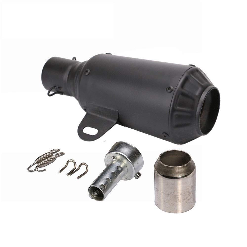 オートバイサイレンサーエキゾーストパイプユニバーサルステンレス鋼管機関車改造部品エキゾーストパイプ (Color : Black)  Black B07RZKQK6C