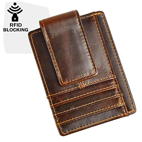 (Le'aokuu Genuine RFID Leather Magnet Money Clip Credit Card Case Holder Slim Wallet (A Coffee)