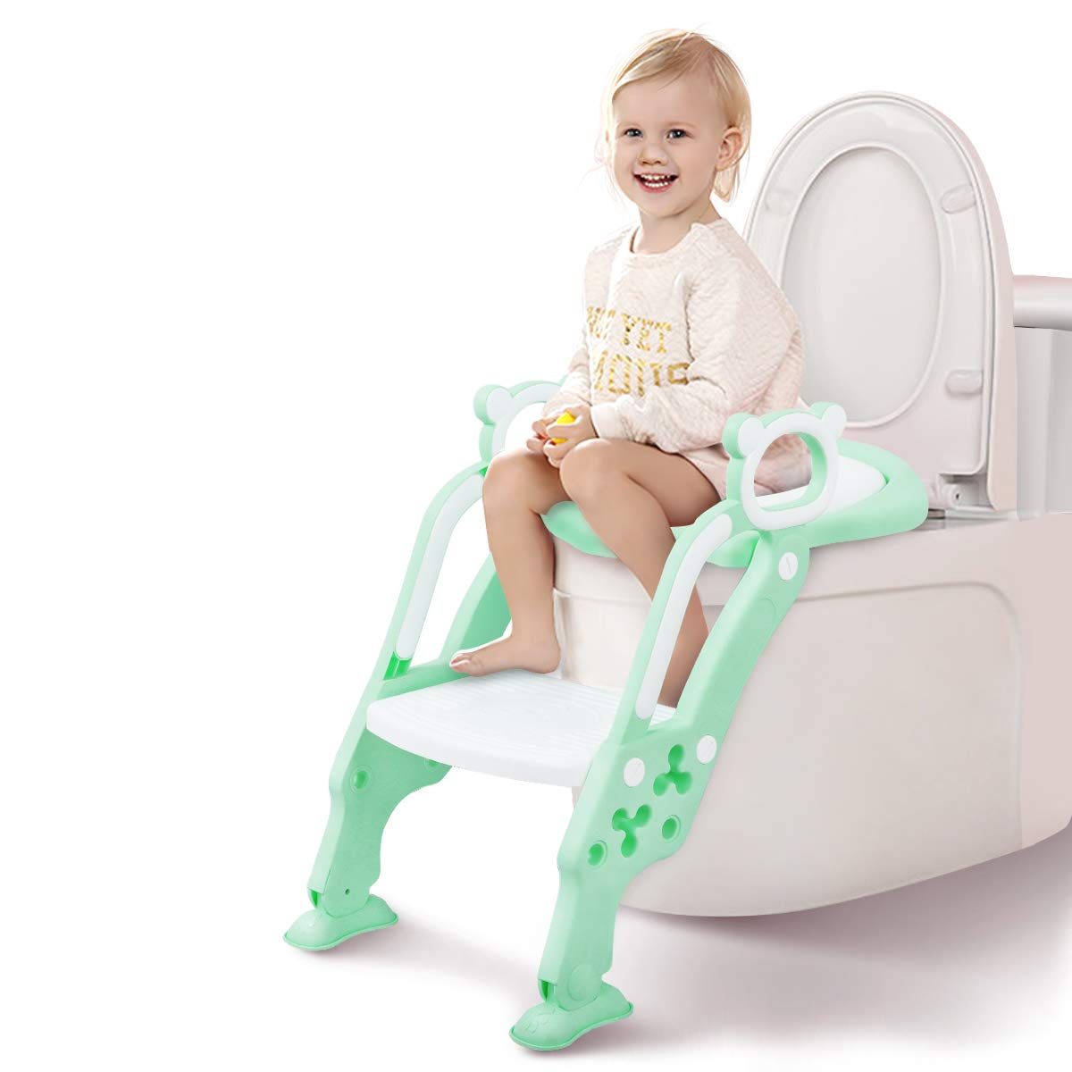 GrowthPic Potty Training Seat, Toddler Toilet Seat, Potty Chair with Splash Guard for Kids, Anti-skid, Soft Cushion, Potty Ladder, Green by GrowthPic